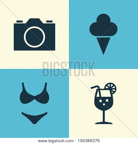 Season Icons Set. Collection Of Lemonade, Sorbet, Bikini And Other Elements. Also Includes Symbols Such As Ice, Sorbet, Photo.