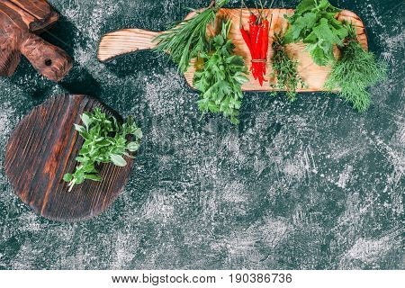 Fresh oregano on the cutting board. Fresh cilantro, dill, lemon balm, thyme, tarragon and chili peppers ready for cooking. Dark grey spotty background. Top view
