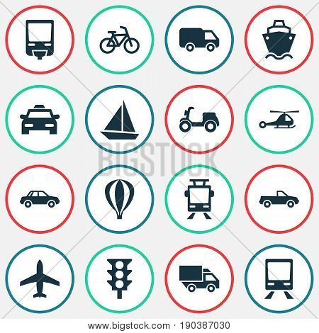 Shipment Icons Set. Collection Of Airship, Bicycle, Aircraft And Other Elements. Also Includes Symbols Such As Van, Balloon, Moped.