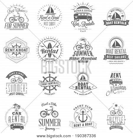Set of summer rental emblem design. Typographic retro style summer advertising badges for rental agencies banner or poster. Bycicle car surfboard boat rentals. Isolated on white. Vector illustration