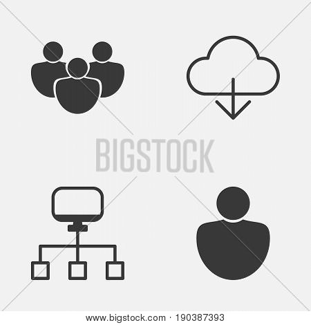 Internet Icons Set. Collection Of Human, Team, Save Data And Other Elements. Also Includes Symbols Such As Computer, Person, Connection.