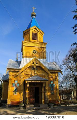 Wooden orthodox church in the ukrainian village