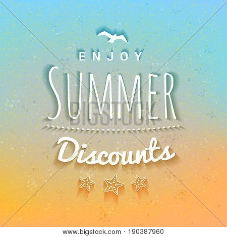 Summer sale banner. Typographic retro style summer poster with textured abstract background. Summer discounts and special offers. Vector illustration