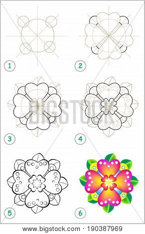 Page shows how to learn step by step to draw a flower. Developing children skills for drawing and coloring. Vector image.