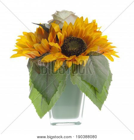 Floral Composition With Sunflowers And Roses