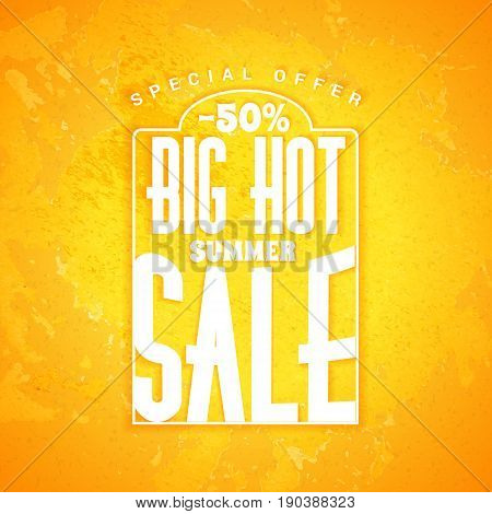 Summer sale banner. Typographic retro style summer poster with textured yellow background. Summer discounts and special offers. Vector illustration