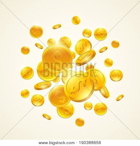 Falling down gold coins with dollar symbol. Vector realistic 3d illustration.