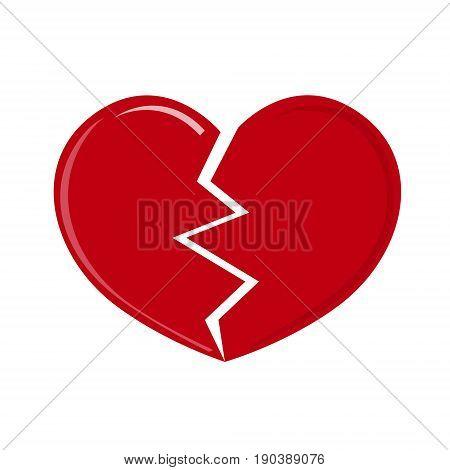 Red heartbreak broken heart or divorce flat icon for apps and websites