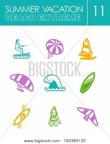 Extreme Water Sport beach outline vector icon set. Summer time. Vacation, eps 10