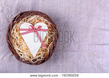 Wooden Heart Tied With Ribbon