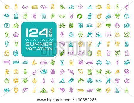 Summer vector icon set. Beach. Travel. Summertime. Vacation, eps 10