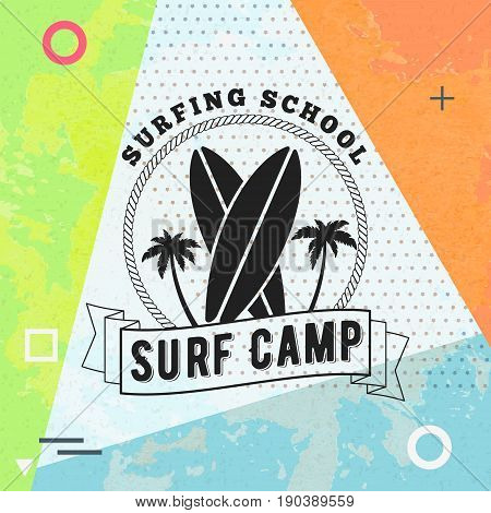 Surfing school and rental summer badge. Typographic retro style label with textured background. Rental or travel agency concept. Vector illustration
