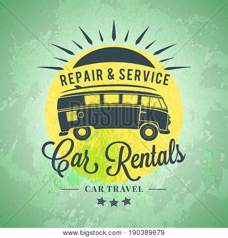 Rent a minivan. Car rental summer badge. Typographic retro style label with textured background. Rental agency concept travel illustration