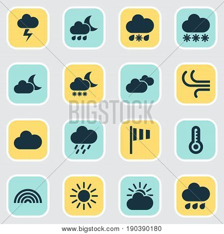 Weather Icons Set. Collection Of Colors, Night, Nightly And Other Elements. Also Includes Symbols Such As Douche, Temperature, Moonlight.