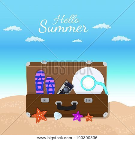 Vacation travelling composition with the open bag. Touristic sighns concept. Take vacation concept with logo. Hello summer holidays