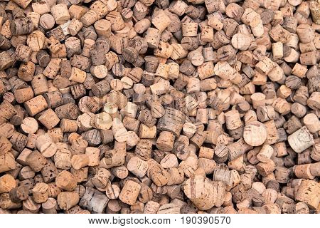 many corks made from cork wood - background texture