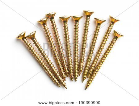 The metal screws isolated on white background.