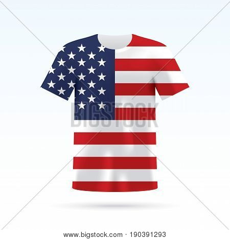 USA flag printed on a T-shirt. Vector shirt template, isoalted on a white background.