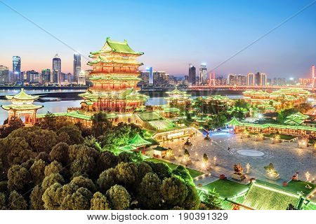 nanchang tengwang pavilion at night is one of chinese famous ancient building