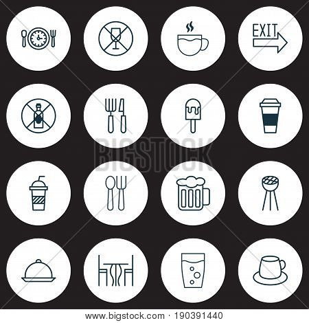 Cafe Icons Set. Collection Of Ale, Alcohol Forbid, Mocha And Other Elements. Also Includes Symbols Such As Time, Drinking, Exit.