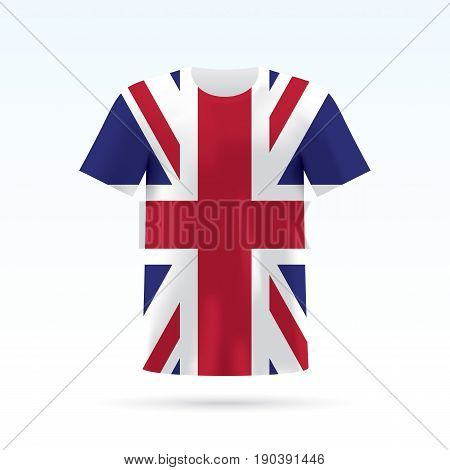 UK flag printed on a T-shirt. Vector shirt template, isoalted on a white background.