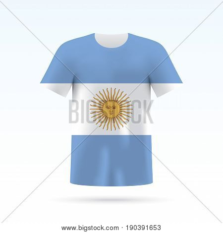 Argentina flag printed on a T-shirt. Vector shirt template, isoalted on a white background.