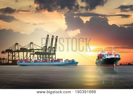 Logistics and transportation of international container cargo ship and cargo plane with port crane bridge in harbor at sunset sky Freight Transportation Shipping
