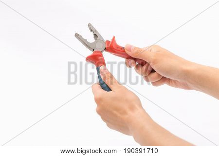 Female Hands On A White Background With Pliers