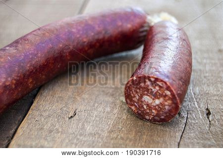 Beef sausage, breakfast sausage, knife-cut sausage, white background with sausage and egg pictures
