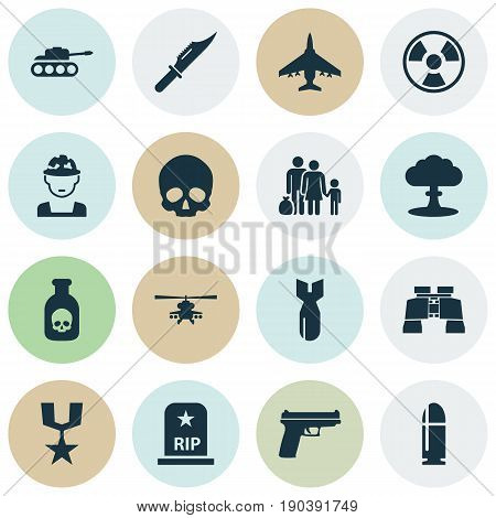 Battle Icons Set. Collection Of Chopper, Military, Danger And Other Elements. Also Includes Symbols Such As Cranium, Rocket, Head.