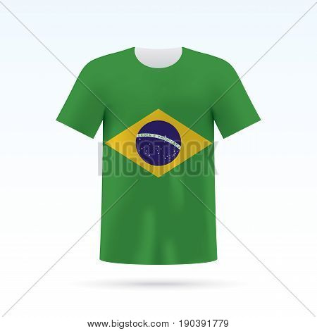 Brasil flag printed on a T-shirt. Vector shirt template, isoalted on a white background.