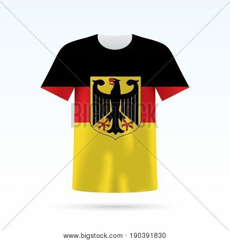 Germany flag printed on a T-shirt. Vector shirt template, isoalted on a white background.