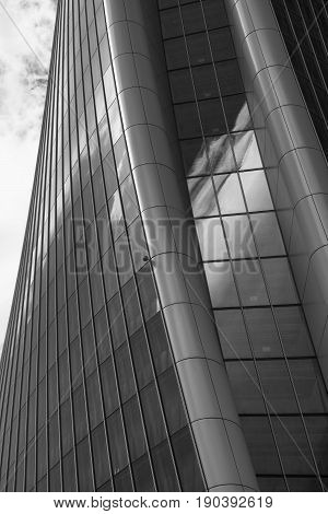 MILAN, ITALY - APRIL 17, 2017: Milan (Lombardy Italy): the skyscraper known as Generali Tower in the new Citylife area (Tre Torri). Black and white