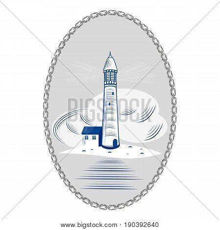 Lighthouse sea ocean light water coast beacon building travel navigation sky vector illustration. Nautical tower design marine beach landmark safety wave architecture.