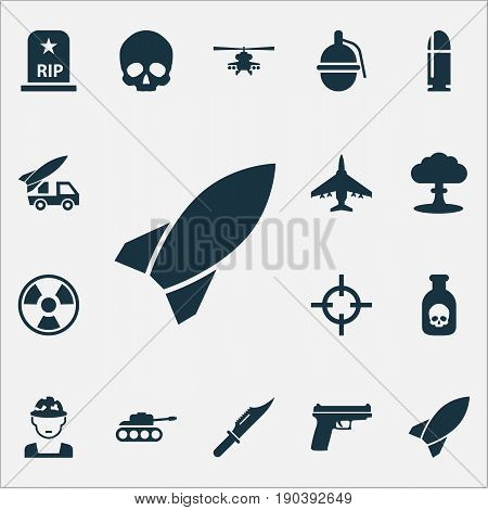 Warfare Icons Set. Collection Of Danger, Bombshell, Aircraft And Other Elements. Also Includes Symbols Such As Fatal, Explosion, Bio.