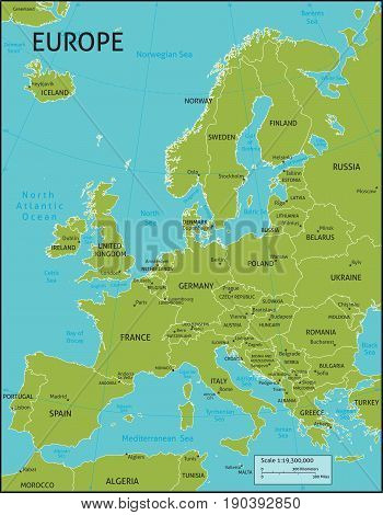 A map of Europe with all country names, and country capital cities. Organised in vector version in easy to use layers. Colors and strokes also easily changed. Layers include: Keys, country names, capital city markers, capital city names, longitude and lat