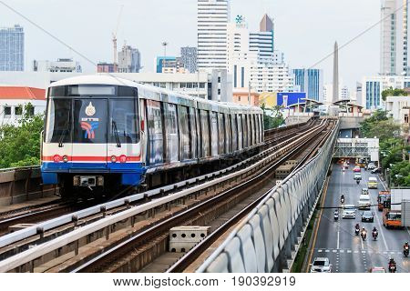 Bangkok, Thailand. - August 29, 2015 : BTS Sky Train at the Victory Monument at evening time.