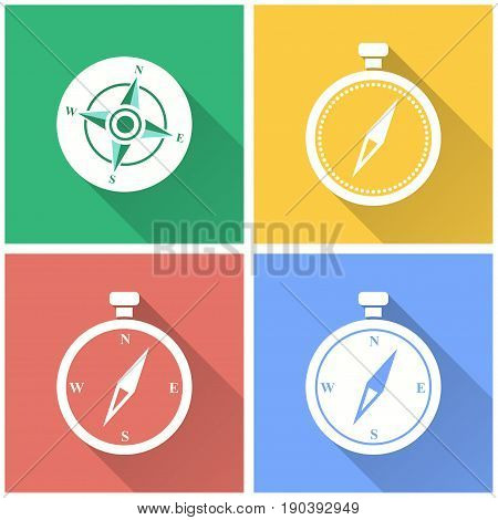 Compass vector icon with long shadow. White illustration isolated on color background for graphic and web design.