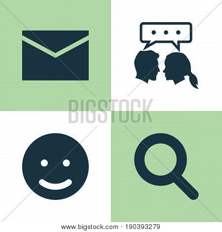 Social Icons Set. Collection Of Magnifier, Conversation, Smile And Other Elements. Also Includes Symbols Such As Seek, Envelope, Search.