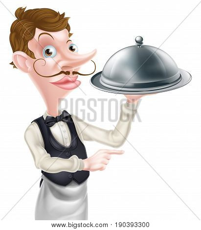 An illustration of a cartoon waiter holding a metal dome and pointing