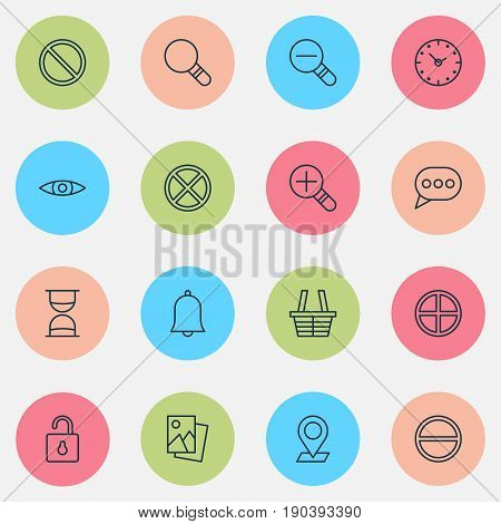 Internet Icons Set. Collection Of Alert, Landscape Photo, Unlock Elements. Also Includes Symbols Such As Obstacle, Basket, Refuse.