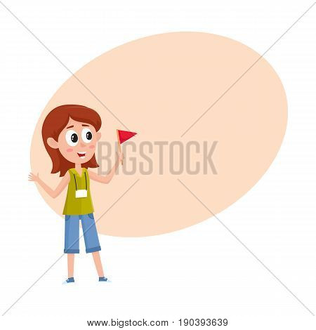 Pretty girl working as tour guide, holding flag, meeting tourist groop, cartoon vector illustration with space for text. Full length portrait of young and pretty female tour guide at work