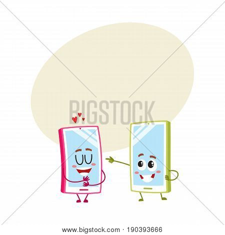 Two cartoon mobile phone characters, one hugging itself with love, another pointing to it with finger, vector illustration with space for text. Two cartoon mobile phone, smartphone characters