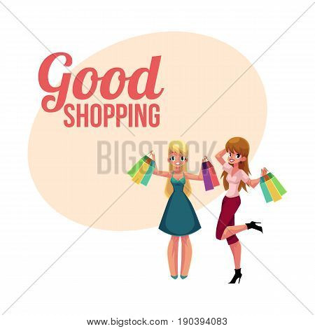 Poster, banner template with happy girls, women, friends holding shopping bags, cartoon vector illustration. Poster, banner with happy girls, women, friends in casual clothing holding shopping bags