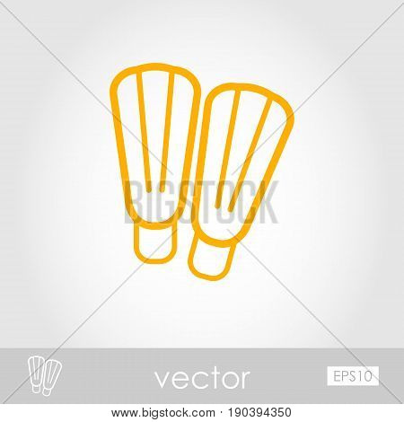Flippers outline vector icon. Beach. Summer. Summertime. Vacation eps 10