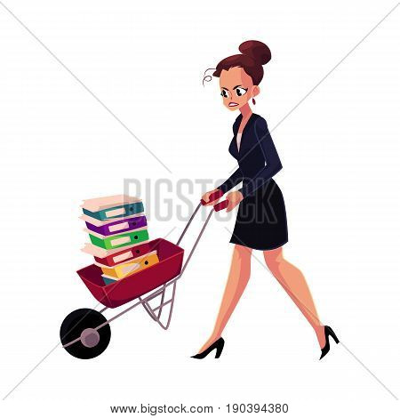 Sad, frustrated woman, girl, businesswoman pushing wheelbarrow with document folders, cartoon vector illustration isolated on white background. Woman, girl pushing wheelbarrow with document folders