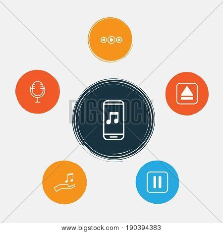 Multimedia Icons Set. Collection Of Audio Mobile, Note Donate, Mike And Other Elements. Also Includes Symbols Such As Eject, Extract, Sell.
