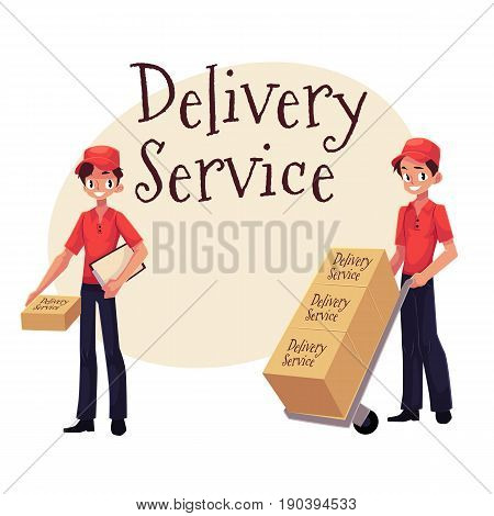 Delivery service banner with worker holding package, pushing dolly, hand cart with boxes, cartoon vector illustration isolated on white background, clipboard and package