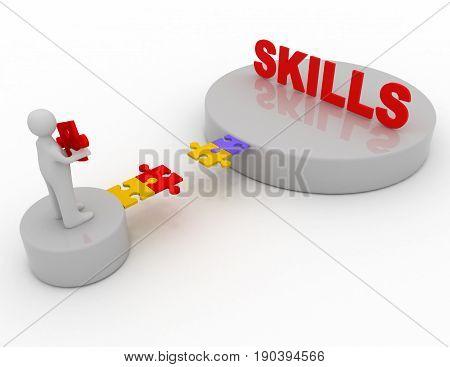 Brige To The Skills Concept .  3D Rendered Illustration