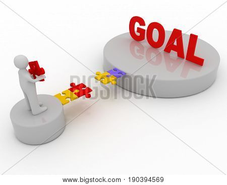Brige To The Goal Concept .  3D Rendered Illustration